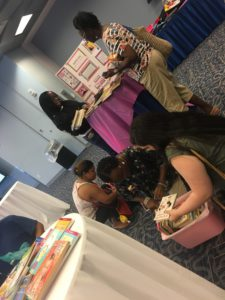 Back to School event, donating books.
